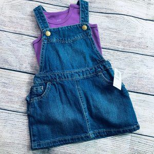 NWT Old Navy 6-12m denim jumper + NWT Primary tank